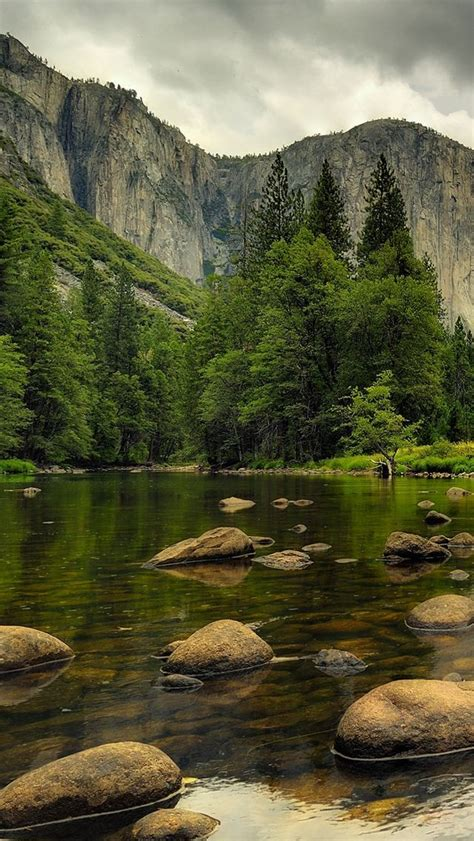 beautiful nature mountains water rocks trees