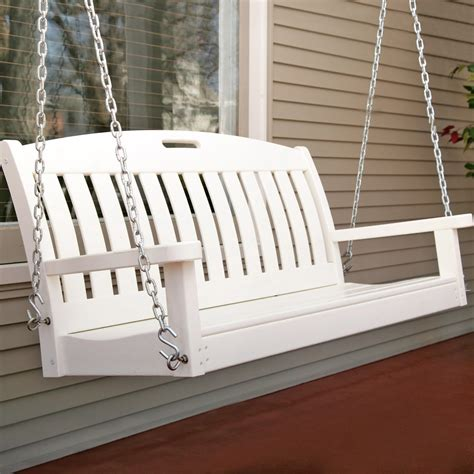 white porch swing polywood 174 nautical 4 ft recycled plastic porch swing