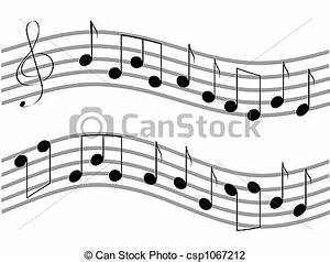 Clip Art of Waved music notes - Vector waved black music ...