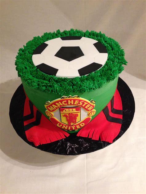 soccer cake manchester united buttercream fondant