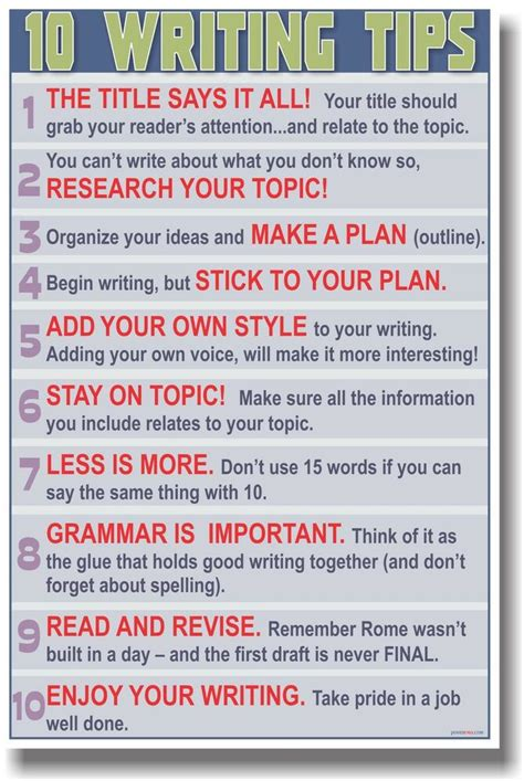 Writing Tips by New Poster 10 Writing Tips School Language Arts