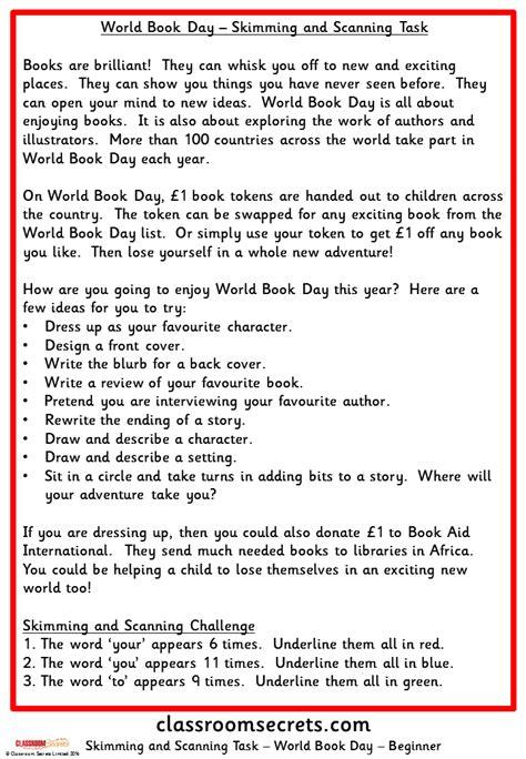 world book day skimming  scanning task classroom secrets
