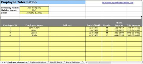 human resource payroll spreadsheet templates