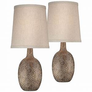 360, Lighting, Modern, Accent, Table, Lamps, Set, Of, 2, Hammered, Antique, Bronze, Natural, Linen, Tapered