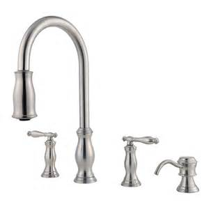 kitchen faucet with pull sprayer shop pfister hanover stainless steel 2 handle pull