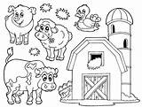Farm Coloring Scene Pages Getdrawings Printable sketch template