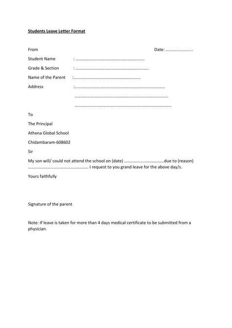 leave letter formats tipsenseme