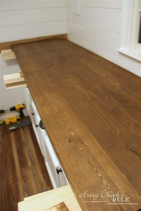 How To Make A Diy Wood Countertop  Artsy Chicks Rule®