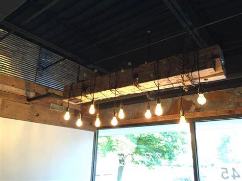barn wood beam rustic industrial chandelier id lights