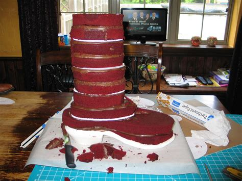 cowboy boot cake carving  cake   layers  red