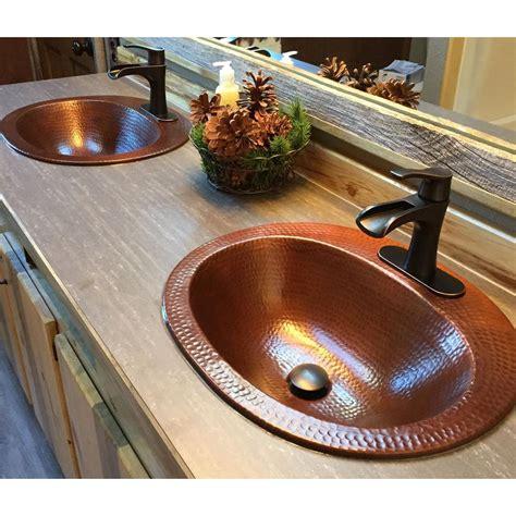 oval drop  bathroom sink bowl  gauge aged copper basin
