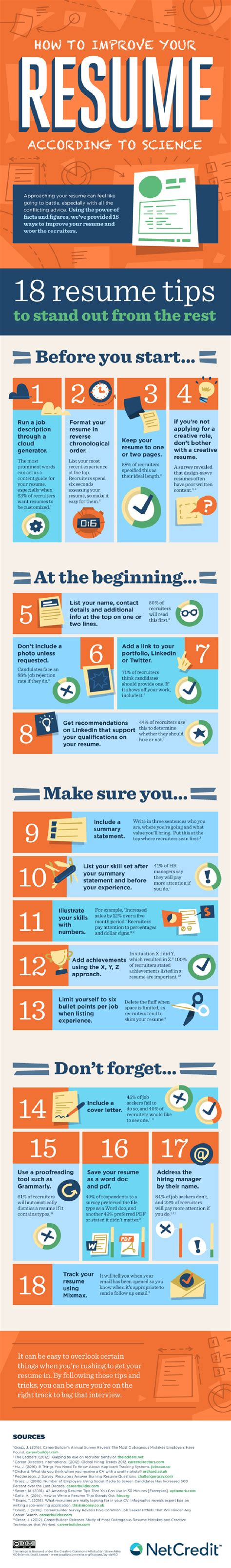 How To Improve Your Resume by 18 Ways To Improve Your Resume Infographic Lifehacker