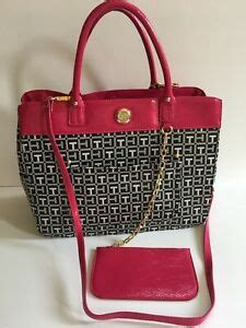 tommy hilfiger womens tote handbag pink black shoulder bag monogram jacquard ebay