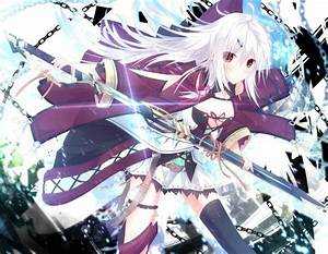 Original, Characters, Long, Hair, Jewelry, Ribbon, Zettai, Ryouiki, Thigh, Highs, Weapon, Sword