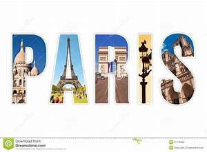 paris letters with monuments isolated on white stock With paris letters