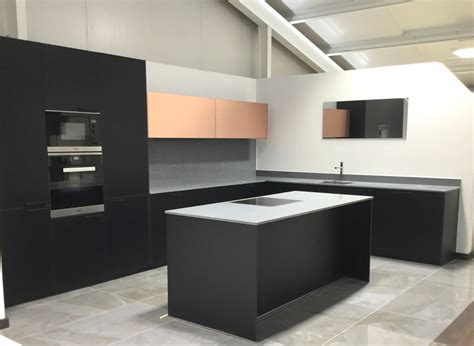ex display kitchen island for ex display rotpunkt black and copper kitchen with island 9657