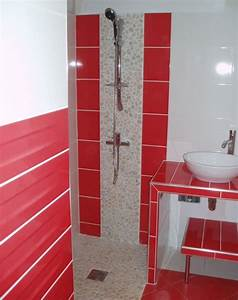 emejing faience rouge salle de bain images lalawgroupus With salle de bain rouge et blanc