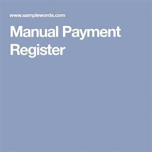 Manual Payment Register In 2020