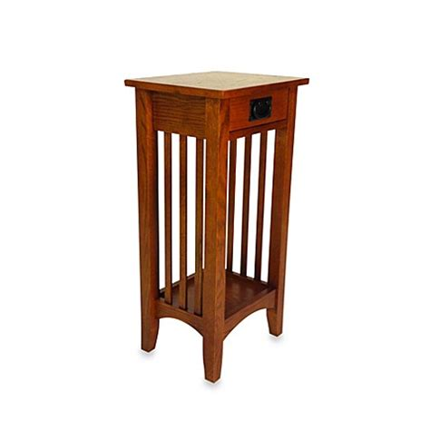 bed bath and beyond side table buy mission style wood pedestal stand side table in brown