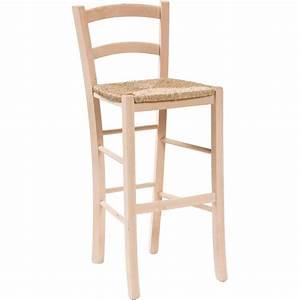 Chaise Bar Bois : chaises et fauteuils tabouret de bar en bois de h tre brut solide avec fond en paille 46x41x101 ~ Teatrodelosmanantiales.com Idées de Décoration