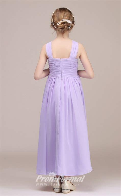 lilac long children bridesmaid dresses  halter neck