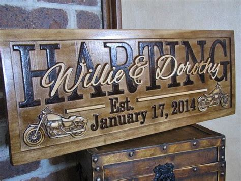 personalized motorcycle wedding gift family  sign