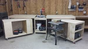 Ana White Miter saw stand with rolling tool storage