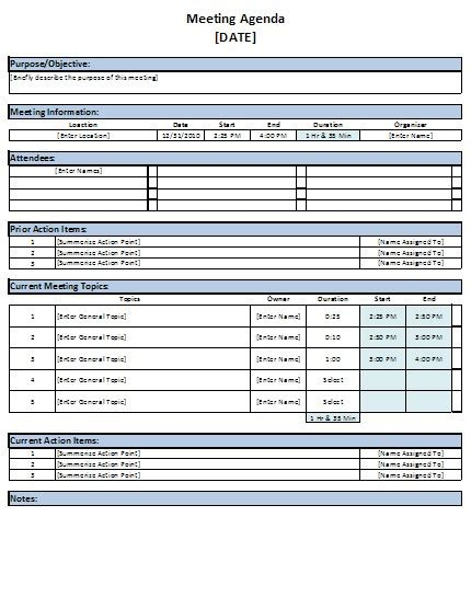 meeting agenda template excel free excel meeting agenda template