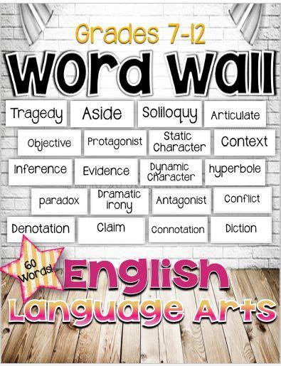 english language arts word wall  grades