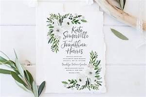 wedding invitation set printable spring summer wedding With free printable wedding invitations greenery