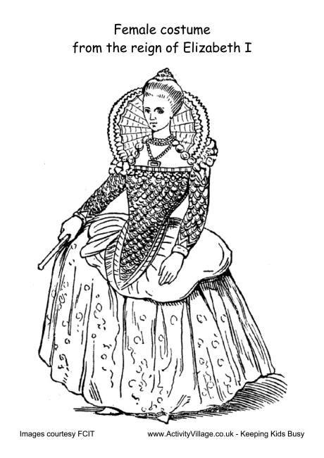 female costume reign  elizabeth  colouring page