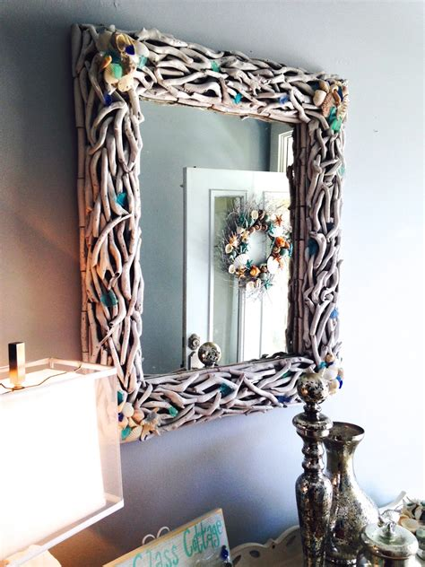 sea glass cottage driftwood mirror makeover
