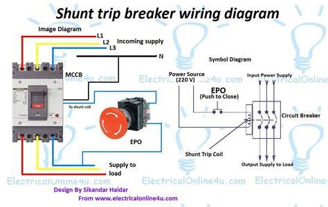 shunt trip breaker wiring diagram explanation electrical 4u
