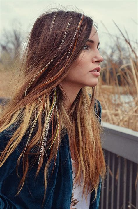 70s Hippie Hairstyles by Clip In Feather Extensions Gipsy Fashion Hippie Chic