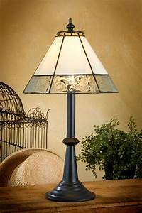 small, cream, and, textured, mission, tiffany, table, lamp