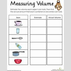 Measuring Volume How Much Liquid Can It Hold?  Physical Science  Measurement Worksheets, Math