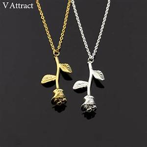 gold rose flower necklace jewelry With collier