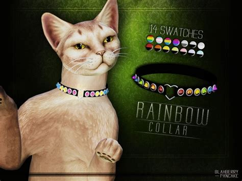 Rainbow collar for cats at Blahberry Pancake » Sims 4 Updates