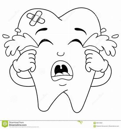 Tooth Sad Coloring Crying Character Sick Cartoon