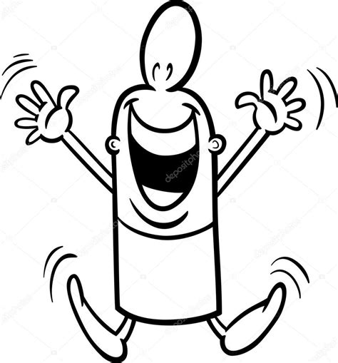 excited guy coloring page stock vector  izakowski