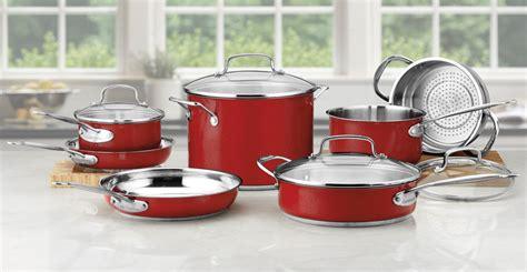 cuisinart chefs classic metallic red cookware set  piece cutlery