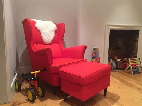 Ikea Wing Chair And Footstool Strandmon, Orange
