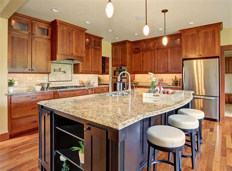 contemporary kitchen  light granite counters dark wood island homedizz