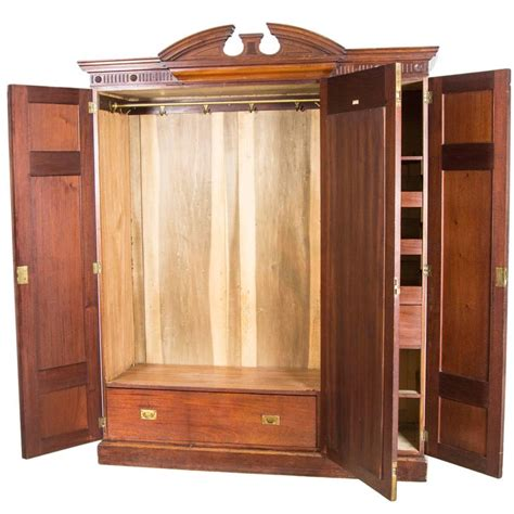 Large Wardrobe Closet For Sale by Large Antique Scottish Three Door Walnut Armoire