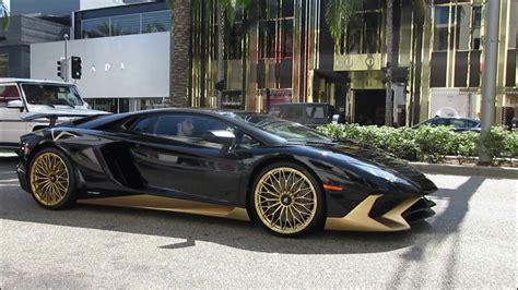 Black & Gold Lamborghini Aventador Sv In Beverly Hills