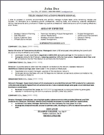 telecommunications resume occupationalexamplessamples