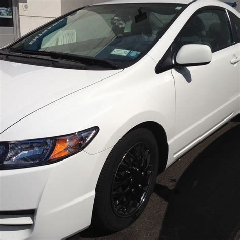 2011 honda civic coupe white black rims with chrome lips