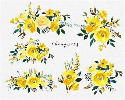Yellow Watercolor Flowers Clipart Roses Peonies Clip