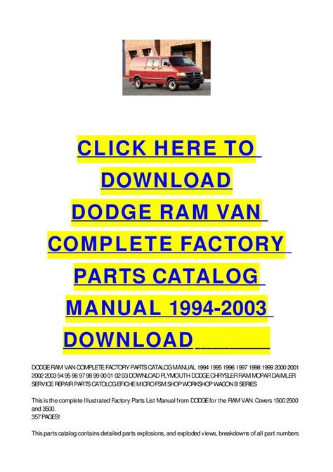 free download parts manuals 1995 dodge ram van 3500 on board diagnostic system dodge ram van complete factory parts catalog manual 1994 2003 download by cycle soft issuu