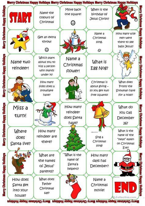 christmas board game worksheet  esl printable